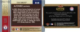 Alfonso Soriano Genuine Article Insider Bat - Back