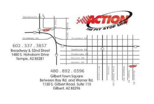 Map to Action´s Pit Stop Shop Gilbert, Arizona Location