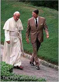 Pope John Paul II with Ronald Reagan Trading Card