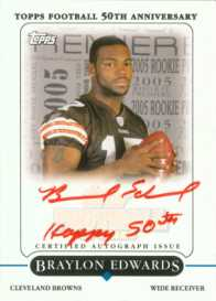 2005 Topps Football Braylon Edwards Rookie Premiere Autograph Card