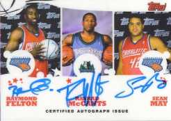 Topps NBA Triple Rookie Photo Shoot Felton/McCants/May Autograph Card